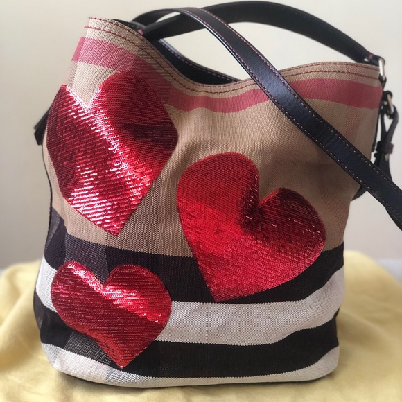 Burberry Handbags - Buberry Ashby Medium Sequin Heart Canvas Bag